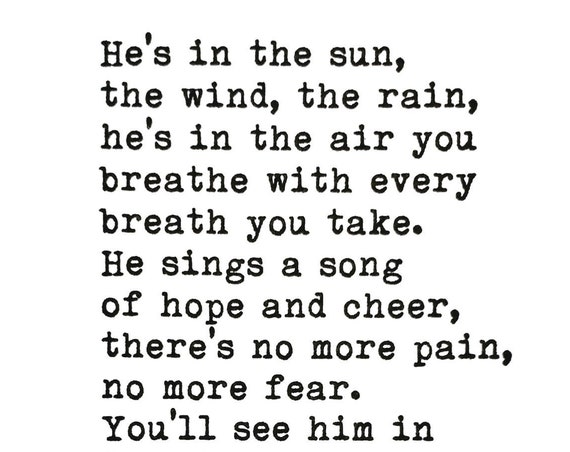 He's In the Sun Poem Letterpress Print