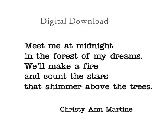 Romantic Home Decor Love Poem - 5 x 7 DIGITAL DOWNLOAD - Romantic Love Gift - Love Quotes - Meet Me at Midnight