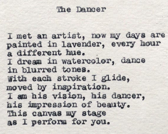 Poetry - Art Gifts - The Dancer Poem Typed with Remington Typewriter - Premade