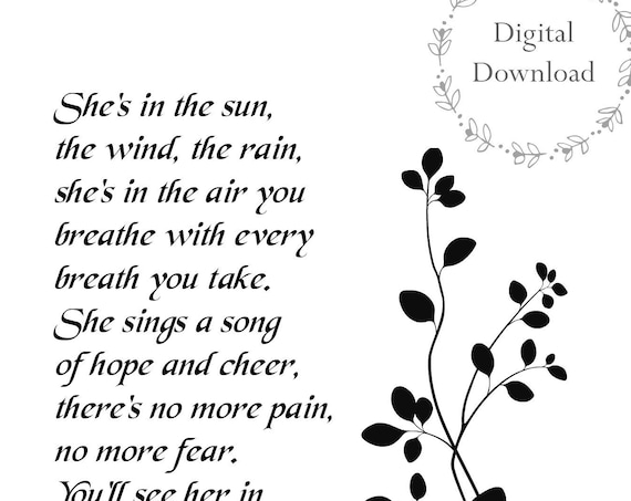 Sympathy Gift Mother - Printable Memorial Gift - Poem - Sympathy Loss of Mom Daughter or Sister - DIGITAL DOWNLOAD Print