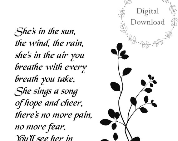 Sympathy Gifts Mother - Printables - 5 x 7 DIGITAL DOWNLOAD - Sympathy Gift for Loss of Mother Sister or Daughter - She's In the Sun Poem