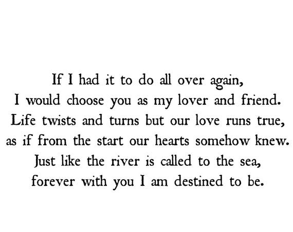 Anniversary Prints - Gifts for Him or Her - If I Had it to Do All Over Again  Lover and Friend Poem