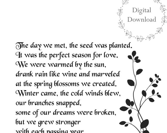 Anniversary Gifts Love Poem - 5 x 7 DIGITAL DOWNLOAD - Art - Growing Together In Love Poem - Gift for Parents