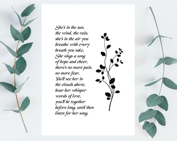 Loss of Mother Gift - Printable Sympathy Gifts Mom Daughter Sister or Friend - Memorial Gift - Poem - DIGITAL DOWNLOAD Print