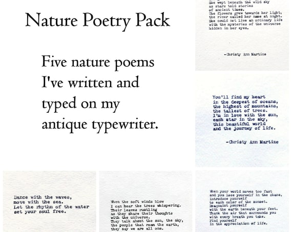 Boho Decor - Gift for Women - Nature Lover Gifts - Poetry Pack of 5 Poems