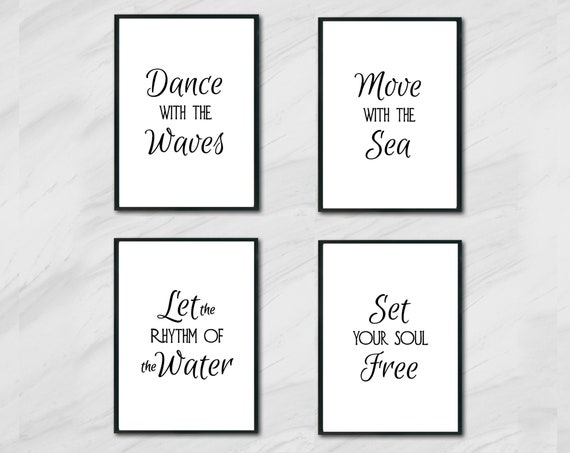 Beach Decor - 8 x 10 - DIGITAL DOWNLOAD - Ocean Wall Decor - Printable Quotes - Wall Art Collage - Set of Four - Dance With the Waves Poem