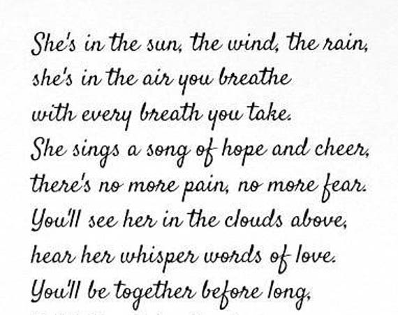 Sympathy Gift Loss of Mother - Grief Gift - Poem Print - She's In the Sun the Wind the Rain Poem by Christy Ann Martine