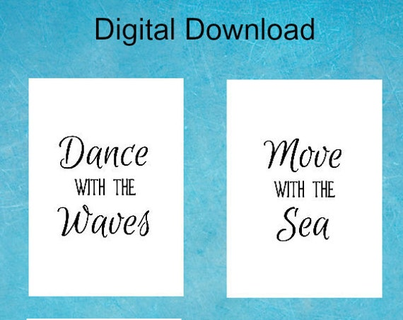 Beach Decor INSTANT DOWNLOAD - 5 x 7 - Printable Ocean Quotes - Nature Lover Quote - Set of Four