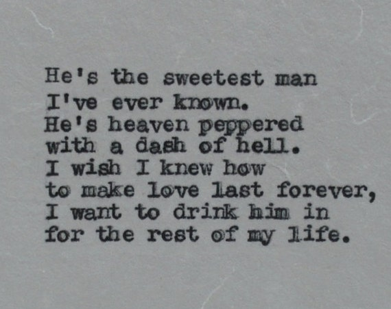 Anniversary Gift for Man - Vintage Decor Hand Typed Love Cocktail Poem on Cotton Paper
