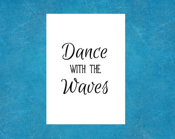 Boho Decor - Set of 4 - 5 x 7 Prints - Ocean Quotes Beach Art - Sea Quote - - Dance with the Waves Poem by Christy Ann Martine