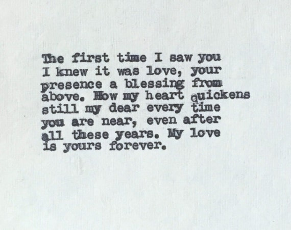 Anniversary Gift for Him or Her Romantic Love Poem Typed Onto Cotton Paper Love Gifts for Boyfriend Husband or Wife Anniversary
