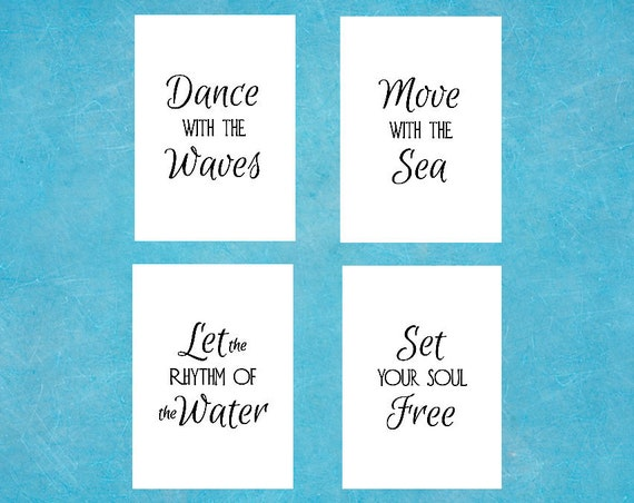 INSTANT DOWNLOAD Quote 5 x 7 - Ocean Quotes Decor - 5 x 7 - Beach Printable Art - Set of Four