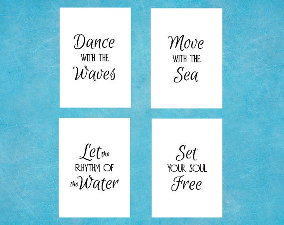 Boho Decor - Beach Prints - Wall Art - Ocean Quotes - Set of 4 - 5 x 7 Prints - Dance with the Waves Poem