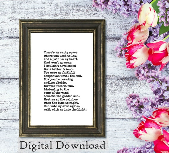 Printable Dog Sympathy Gift Loss of Dog or Cat Pet Loss Gifts Pet Memorial  Printable Forever Free Poem Digital Download Print