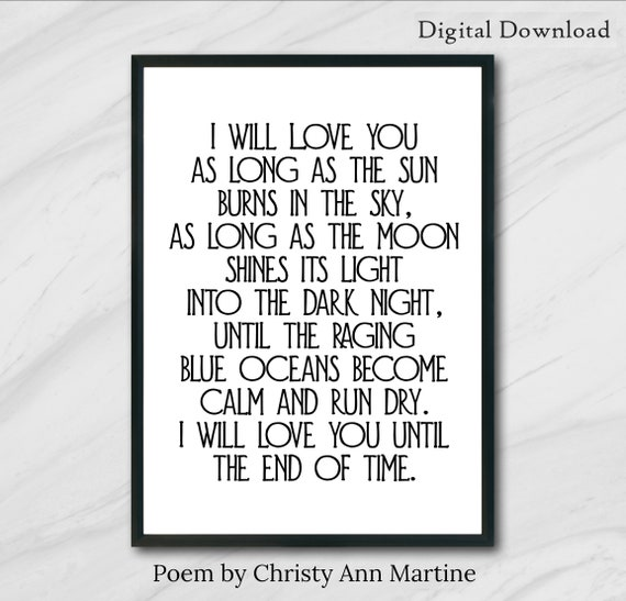Valentines Day Gift for Him or Her - Printable Wall Art - Gifts for Boyfriend or Girlfriend - Love Quotes - DIGITAL DOWNLOAD - 5x7, 8x10