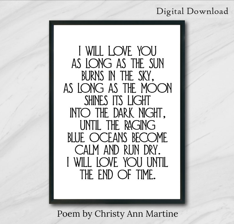 image regarding Printable Love Quotes referred to as PRINTABLE Get pleasure from Quotations Wall Artwork Enjoy Poetry Downloadable Prints 5x7 8x10