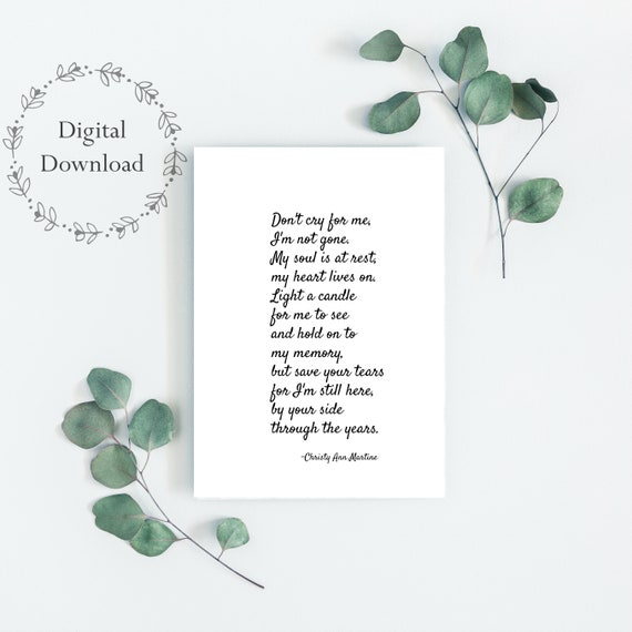 Sympathy Gift Mother or Father - Memorial Gift Mom Dad or Friend - 5 x 7 Digital Download Print - Printable Gifts for Memorial or Funeral