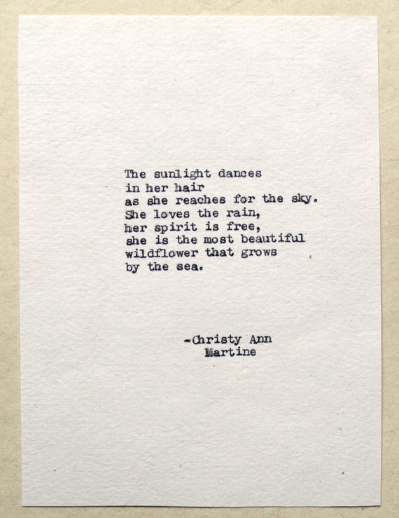 Boho Art - Bohemian Decor - Gifts for Nature Lover - The Sunlight Dances In Her Hair - Wildflower Poem Typed by Poet with Vintage Typewriter
