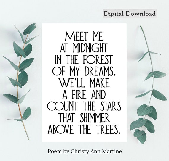 Printable Valentines Day Gift - Poetry Wall Art Decor - Meet Me at Midnight Love Poem - Christy Ann Martine - DIGITAL DOWNLOAD - 5x7 & 8x10