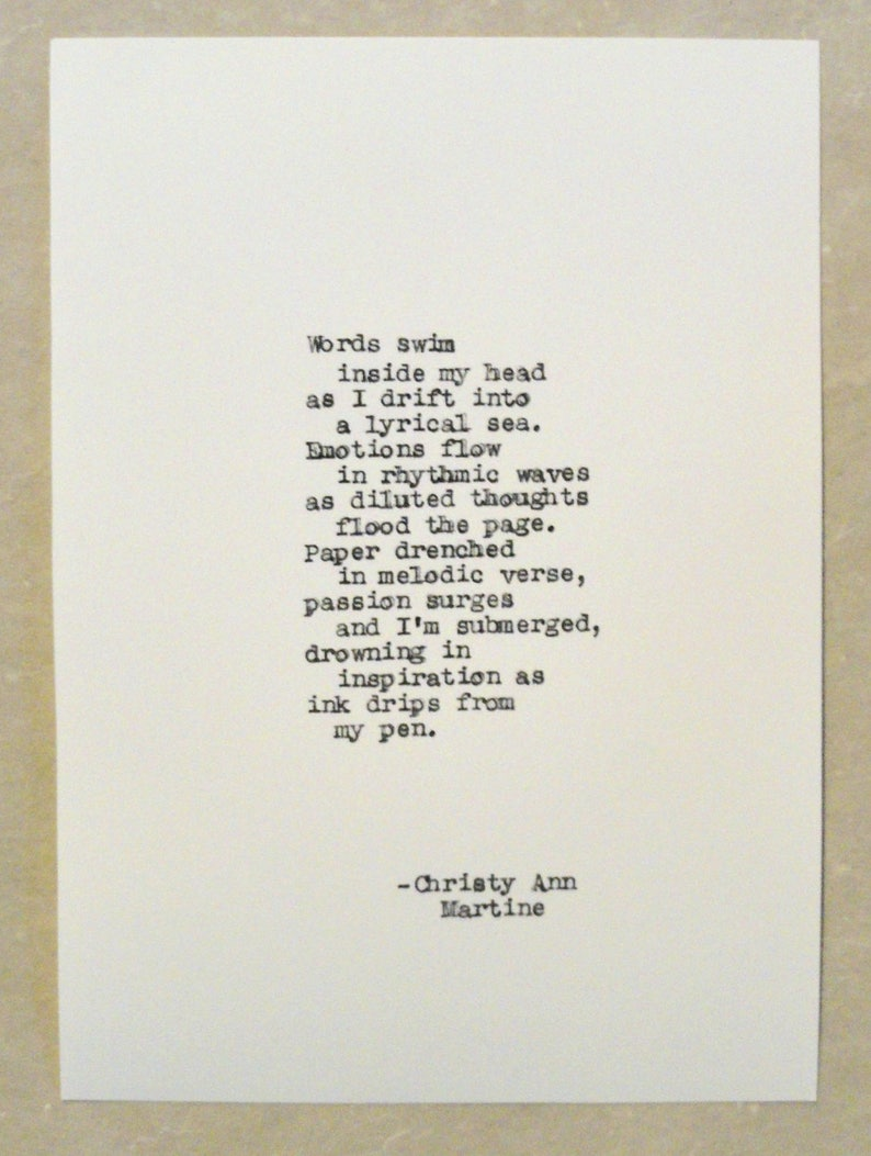 Poetry - Writing Poem - Gift for Poet or Writer - Typewriter Quote -  Creative Flow Poem by Christy Ann Martine