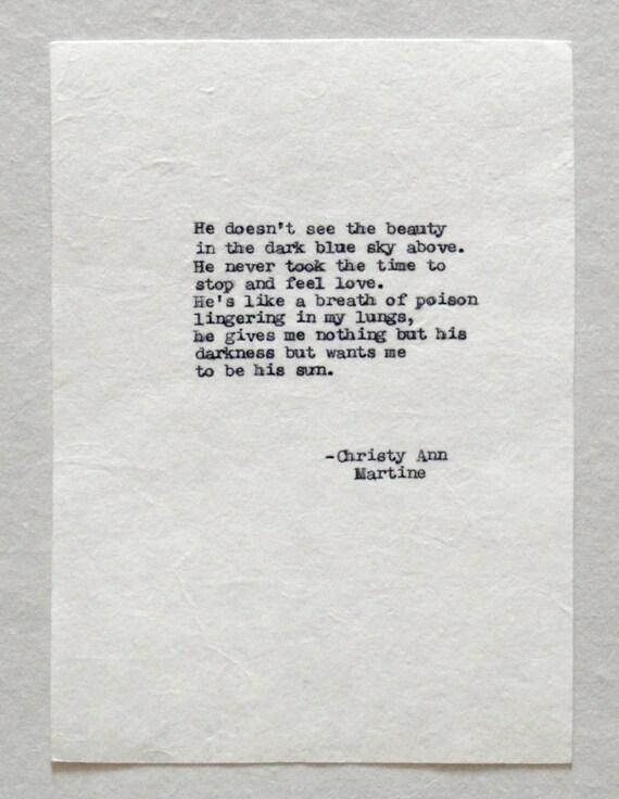Dark Poetry - Domestic Violence Quote - Poem - Emotional Abuse - Vintage Typewriter Poems