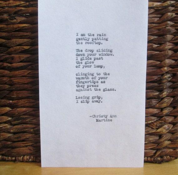 Rain Poem Typed by Poet - Writer - Sad Art - Poetry - Raindrop - Typewriter Poems - Poets