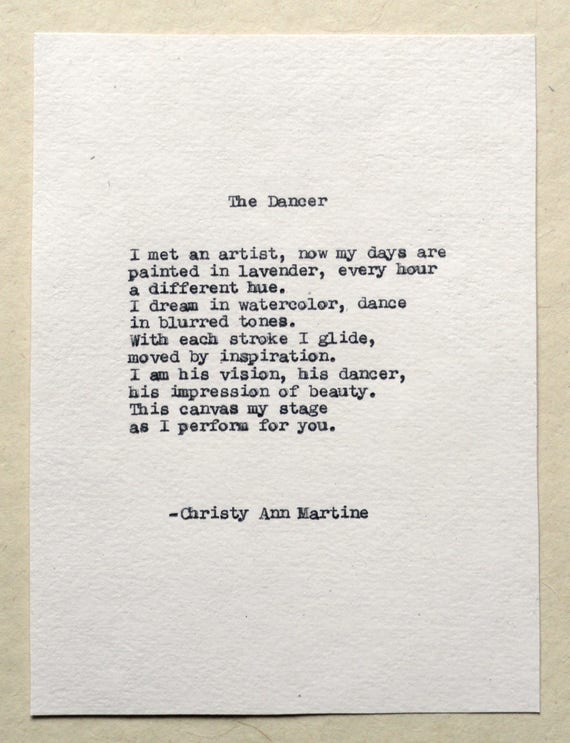 Gift for Dancer or Artist - Poetry - The Dancer Poem Typed with Remington Typewriter - Dance Art Gifts for Her