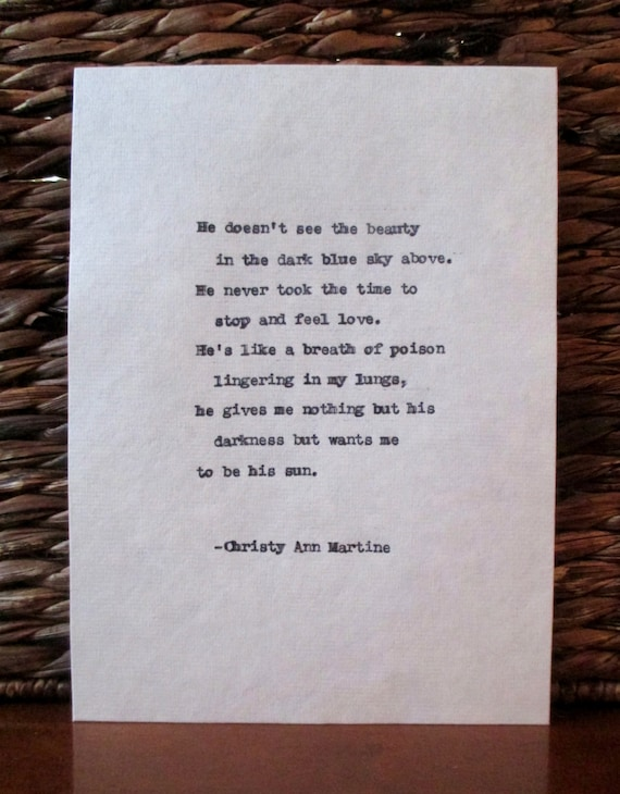 Dark Art - Domestic Violence - Emotional Abuse - Typewriter Poem