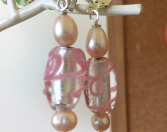 Foil and Glass Pink Beads (handmade) and Pearls - Drop Earrings