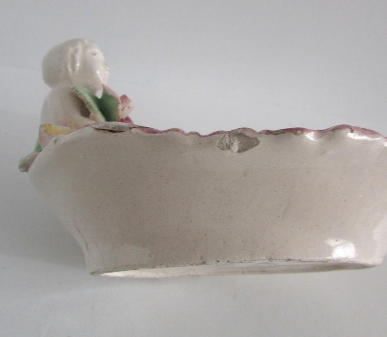 Vintage Capodimonte Porcelain Cherub Trinket Ring Dish Italy