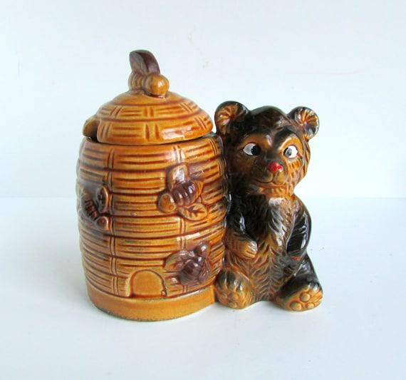 Vintage Ceramic Honey Pot Bear and Beehive Armbee San Francisco Japan