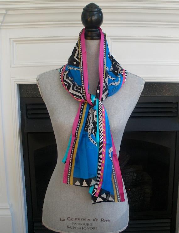Laurel Burch Colorful Long Silk Vintage Scarf