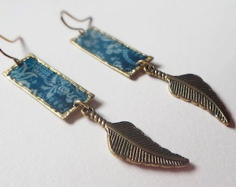 Handmade blue floral Pattern Earrings/ Feather Charms/ One off piece