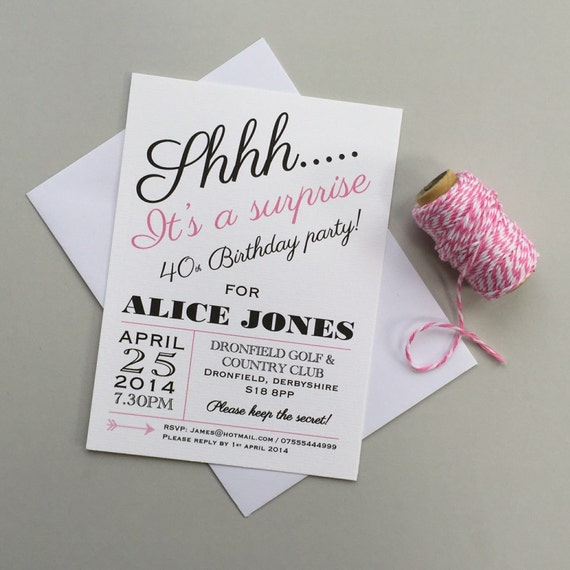 Surprise Party Invitations Custom Invites