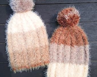 Knitting Pattern Hat -- Three Chocolates Hat -- Knit Stocking Cap Pompom