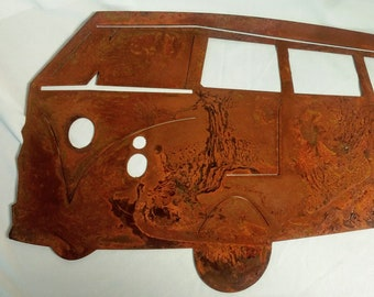 VW bus wall hanging with rust patina