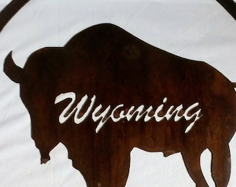 Buffalo Wyoming Steel Wall Hanging with rust patina