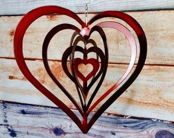 Metal Heart Wind Spinner Valentines Ornament
