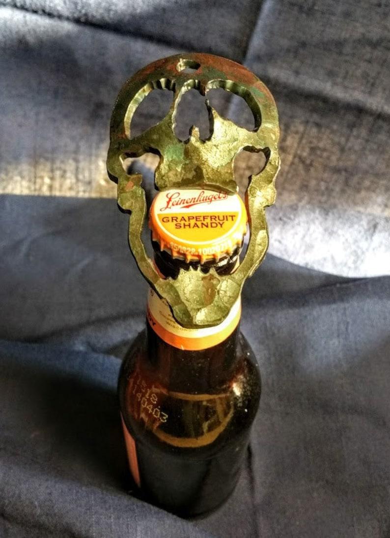 Hand Forged Skull Bottle Opener image 0