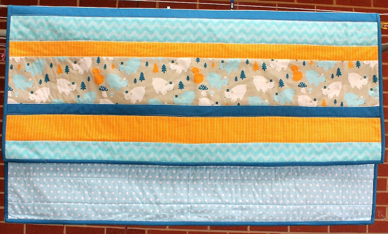 Teal and Golden Yellow Bear Party Modern Baby Cot Quilt in Aqua