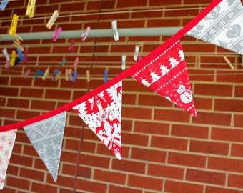 Long Christmas Bunting : Red and Grey Nordic style with 18 Double-sided Fabric flags.
