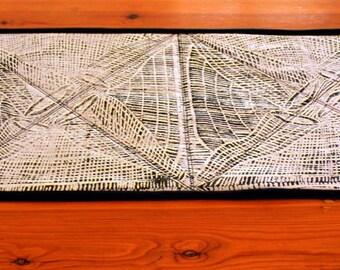 Fishtrap Quilted Table Runner using Australian Indigenous Design Screenprint from Maningrida Babbarra Women's Centre.