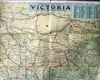 Map Of Nsw And Victoria Australia.Items Similar To Vintage Map Victoria Australia Melbourne Australia