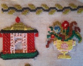 Antique sampler, embroidered needlepoint sampler 1889, colourful circus theme. 1800s needlework, woolwork. Cross stitch sampler.