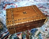 Large antique marquetry lock box, secretary, work box. Inlaid wood, banded trim w central medallion, patterned paper inside, working lock.