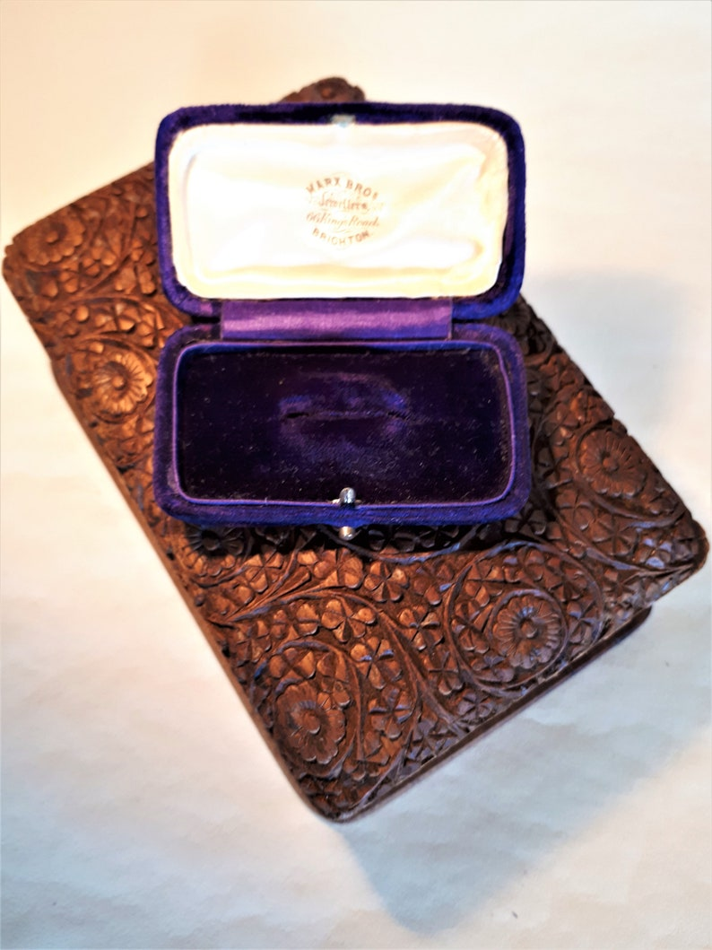 Royal blue mohair velvet with printed satin inner lid metal clasp, Vintage velvet ring box Marx Brothers jewellers Brighton England