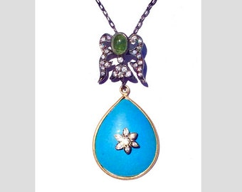 One of a kind gilded 925 Sterling Silver Tourmaline, CZ and resin pendent.