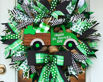 READY TO SHIP!!! St. Patrick's Day Truck Mesh Wreath, St. Patrick's Day Door Decor, St. Patrick's Shamrock Truck Wreath, Fall Wreath