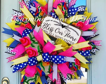 READY TO SHIP! Summer Wreath, Bless our Home Wreath, Summer Door Hanger, Summer Decor, Fall Wreath, Spring Wreath