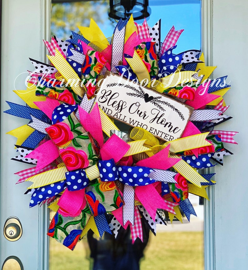 READY TO SHIP Summer Wreath Bless our Home Wreath Summer image 0